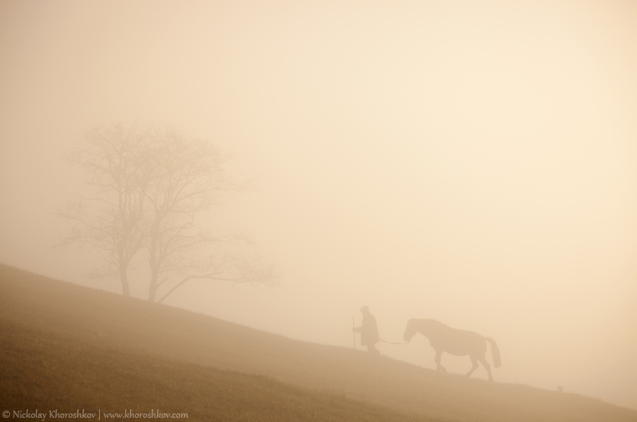 Man and horse silhouette on the hill