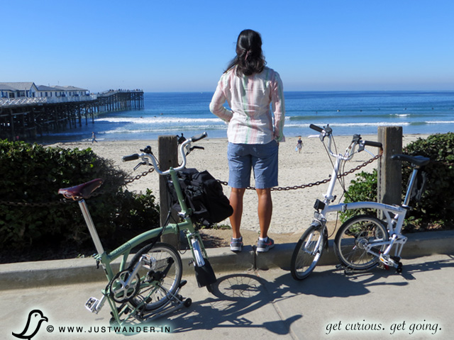 Brompton Folding Bike at Pacific Beach, California