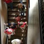 Walking down stairs in Williamsburg