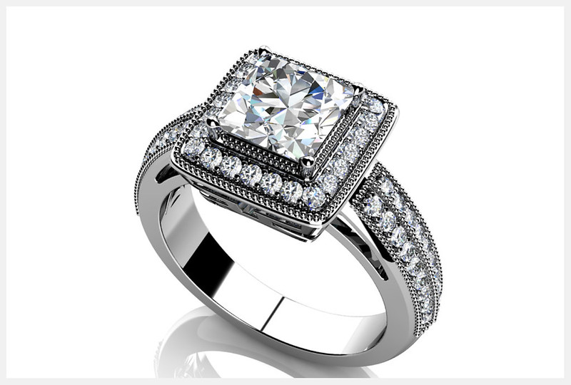 Anjolee Millgrain Detail Princess Cut Engagement Ring