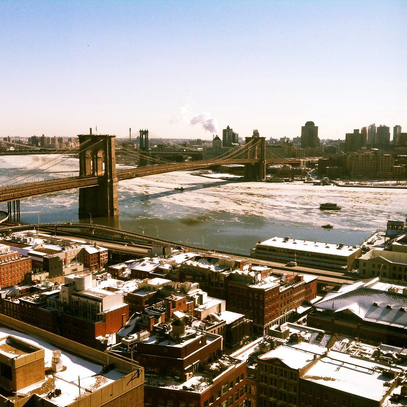 Ice flowing up the East River
