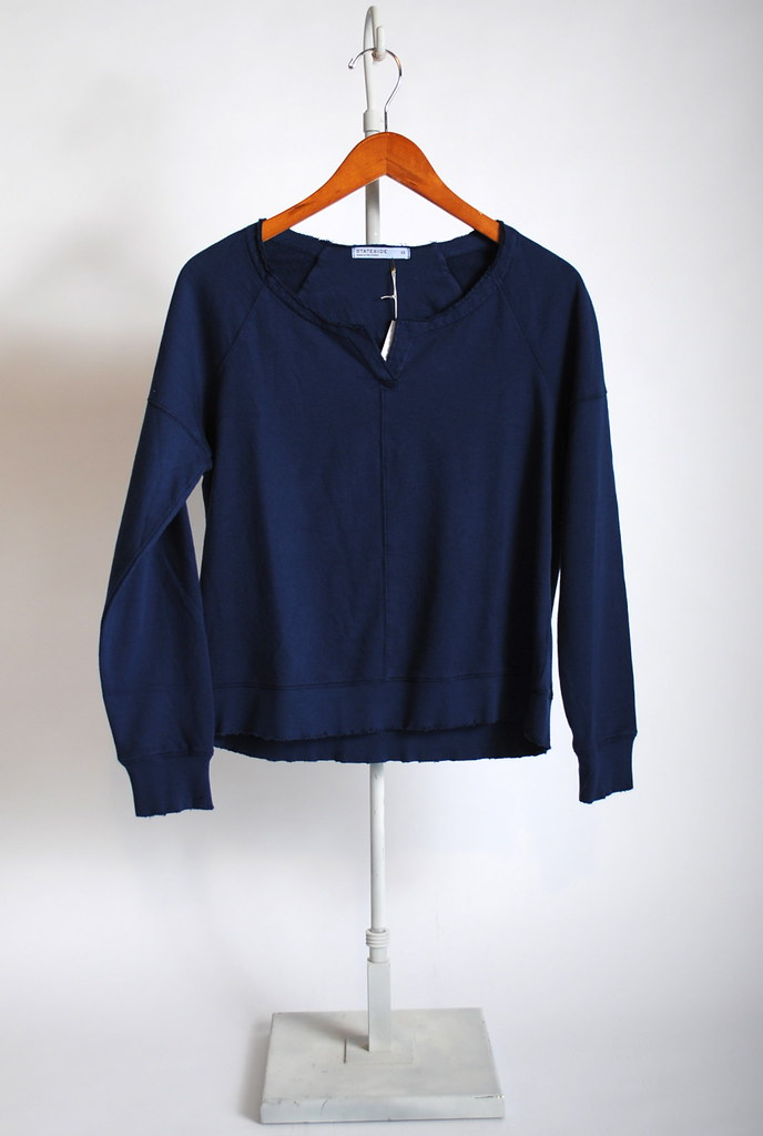 Baby Fleece Distress Notch Front Sweatshirt