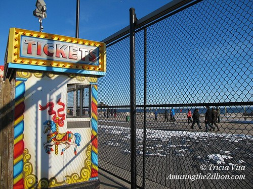 Ticket Booth at Deno's Wonder Wonder Park in Winter.
