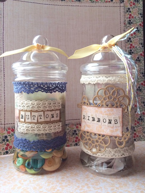 Upcycled craft storage jars by StickerKitten - buttons and ribbons
