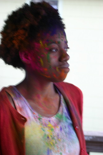 Phoebe painted with holi colors