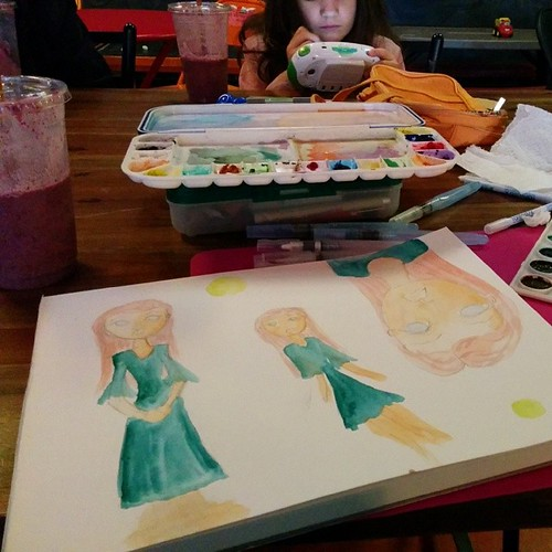 Quick watercolor paintings at Bean Traders. #sonheimfairytale2014 #beantraders #watercolor