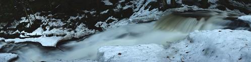 Beecher Creek Falls in panorama, Edinburg, N.Y.