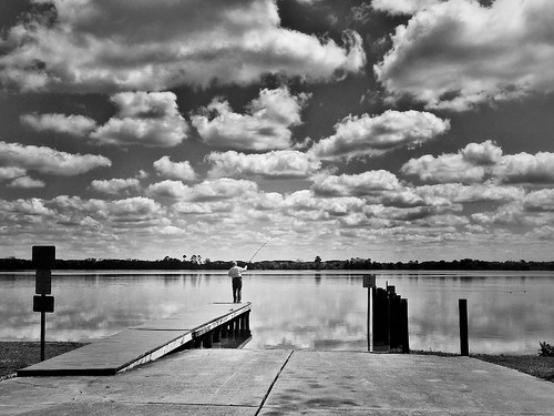 B&W Image of Baldwin Lake in Orlando, Florida