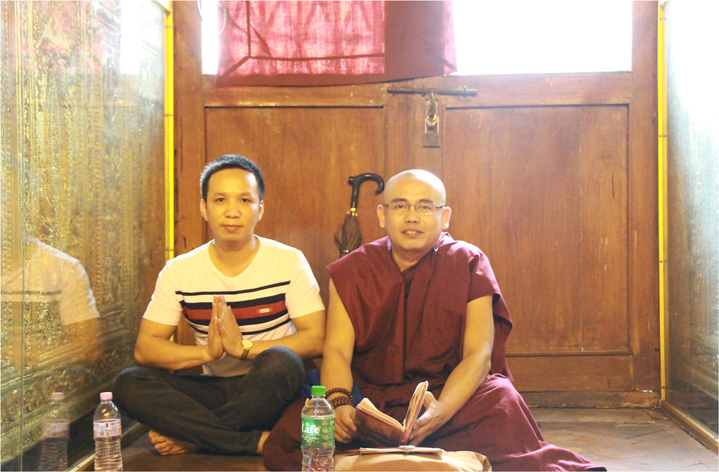 Phu and a monk in Botahtaung Pagoda - Yangon