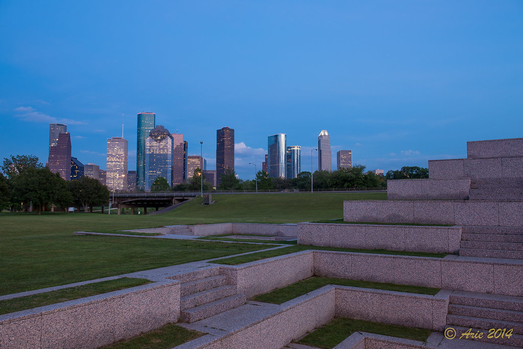 Houston skyline as viewed from Houston Police Officer's Memorial