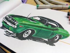 Muscle Car (gezeichnet mit Brush-Markern)