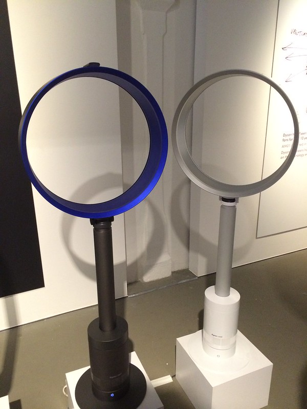 Dyson Cool Fan - AM08 Pedestal Fan - Left: Iron/Blue - S$699, Right: White/Silver - S$699