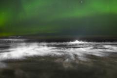 Aurora over cold sea