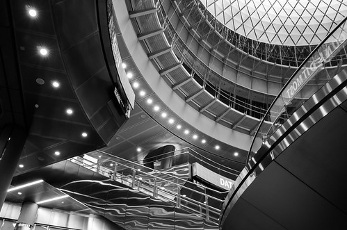 Fulton Center, layers, lights, and reflections
