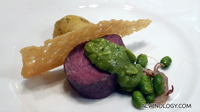 Beef Verde - black angus beef drizzled with sauce verde, side by edamame and potatoes with parsley