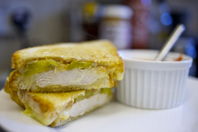 Recipe: Peanut Butter and Pickle Chicken Melt with Sriracha Dijon Dip