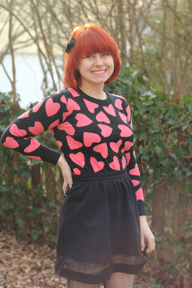 Black Sheer Hem Skirt with a Pink Heart Sweater