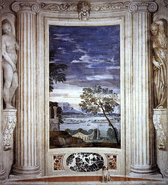 Paolo Veronese, Villa Barbaro, Maser, Landschaft mit Hafen