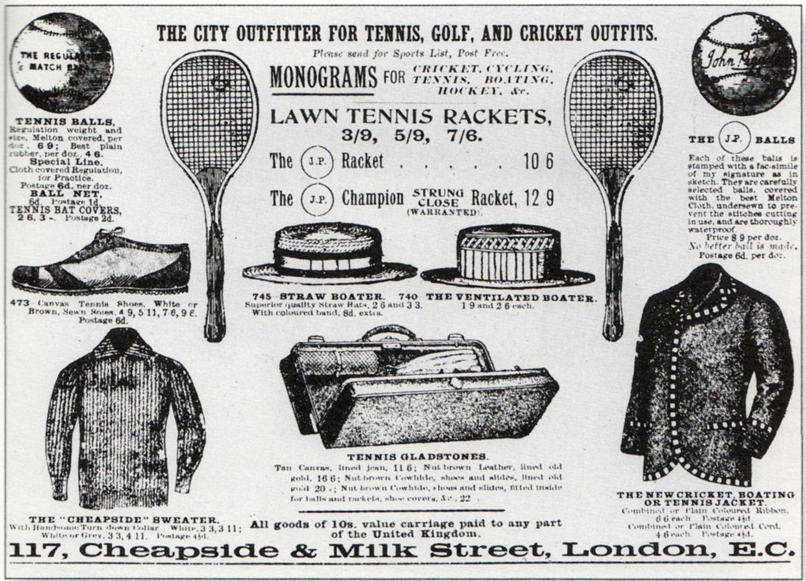 Early advertisement for tennis equipment, from an English newspaper.
