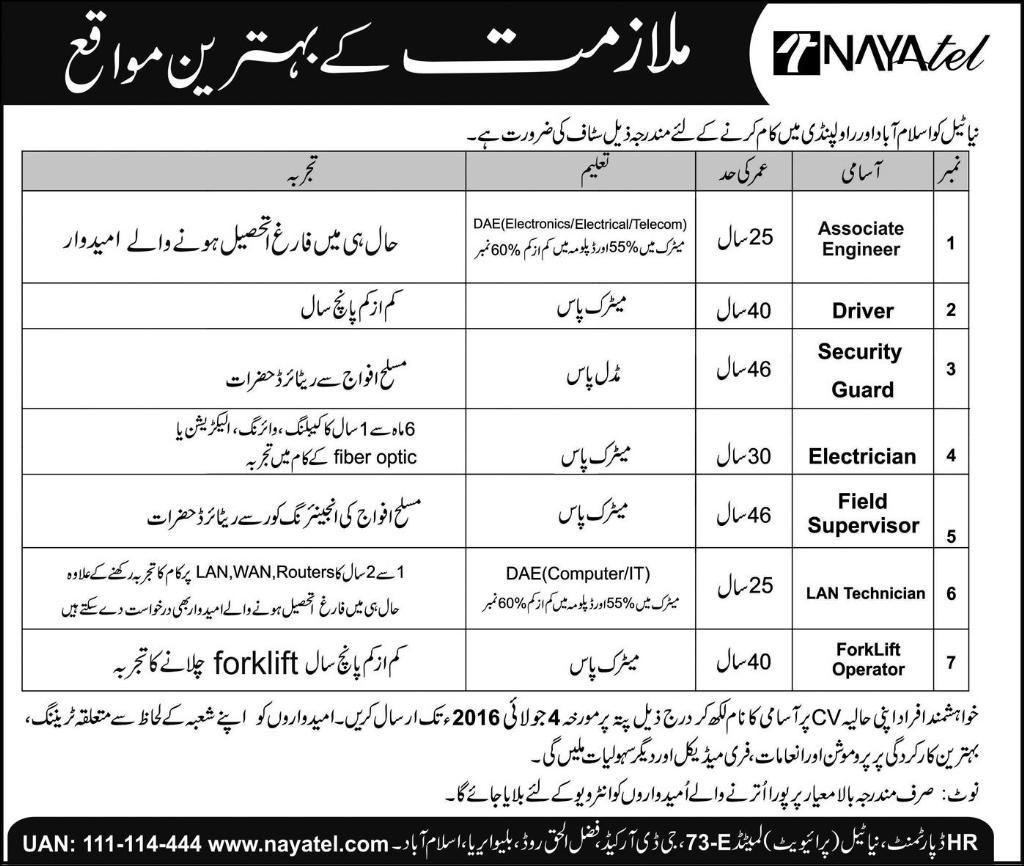 Nayatel Islamabad Career Opportunities