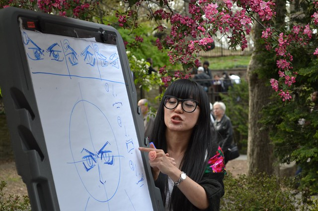 Misako Rocks! leads a hands-on manga drawing workshop. Photo by Mike Ratliff.