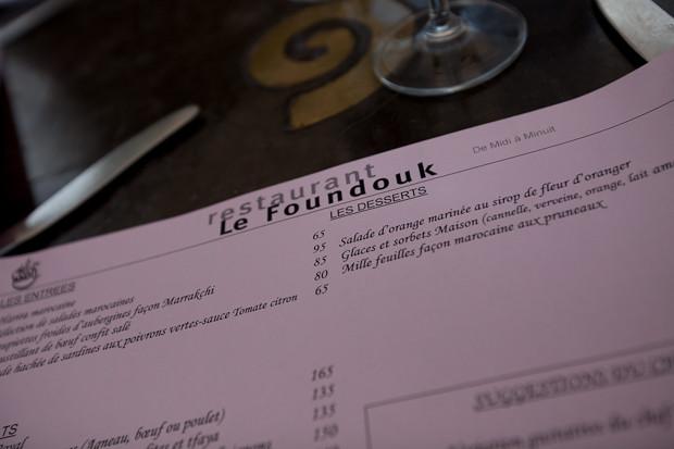 Menu Le Foundouk