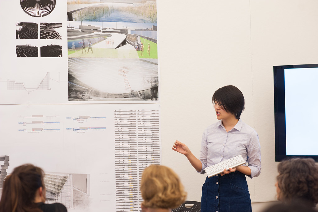 M.Arch. student Lily Chung presenting her work.