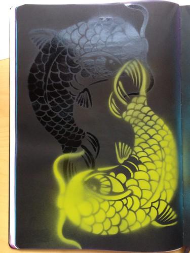 Koi stencil - yin yang style