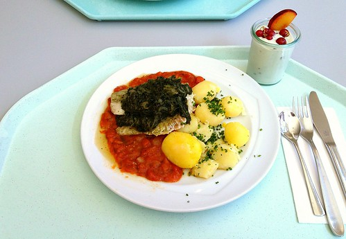 Gedünsteter Seelachsfilet im Tomatenbett mit Blattspinat / Coalfish on tomatoes with leaf spinach