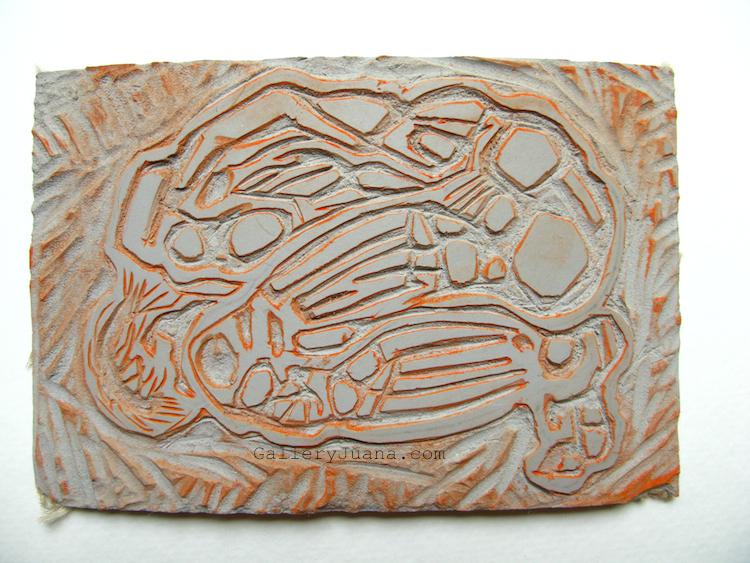 Juana almaguer gallery art linocut male figure dawn
