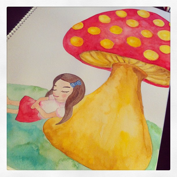 Mashrooooom dream  #watercolor #artjournal #doodle