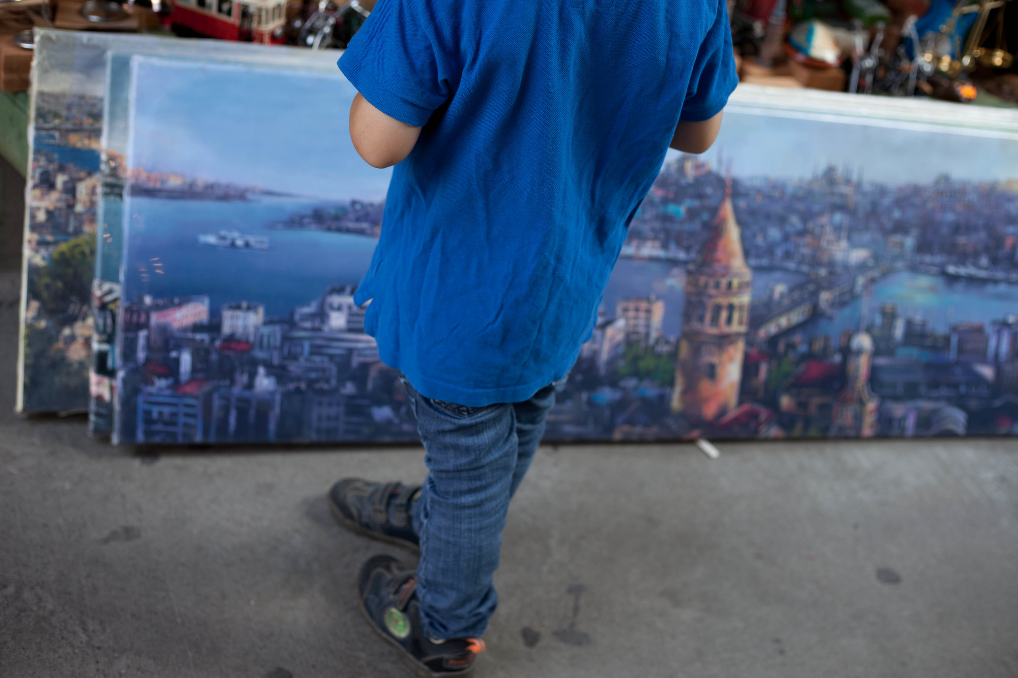 Galata Tower on a tourist shop painting.