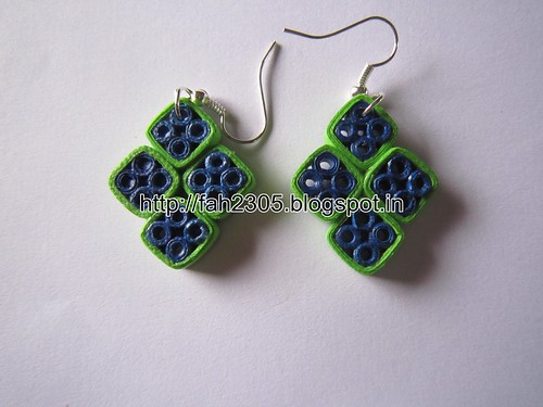 Handmade Jewelry - Paper Quilling Diamond Shape Earrings (1) by fah2305