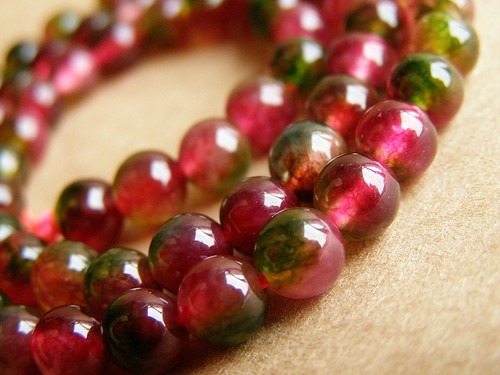 Watermelon tourmaline Jeweller - beads (ball)
