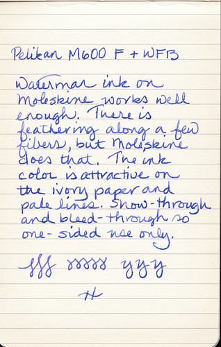 Writing sample of Waterman Florida Blue ink on Moleskine