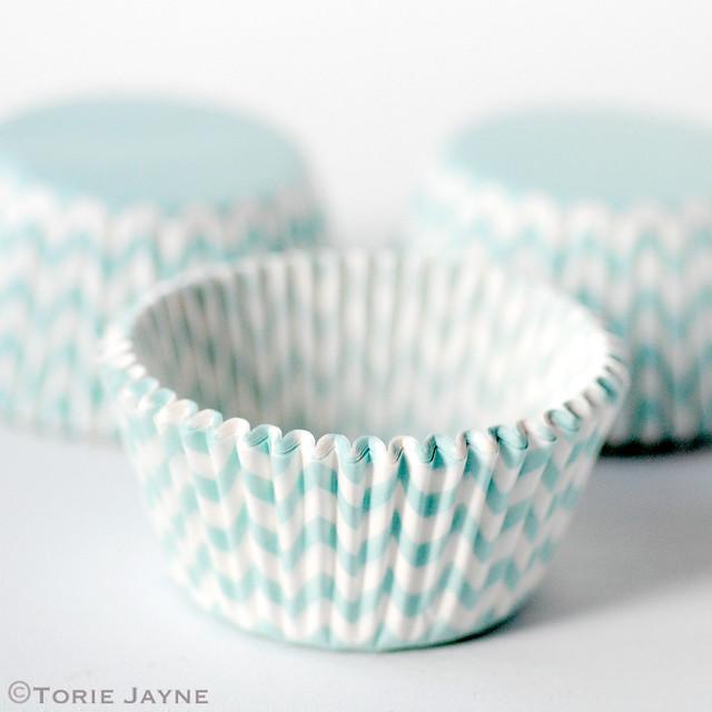 Turquoise & white chevron cupcake case