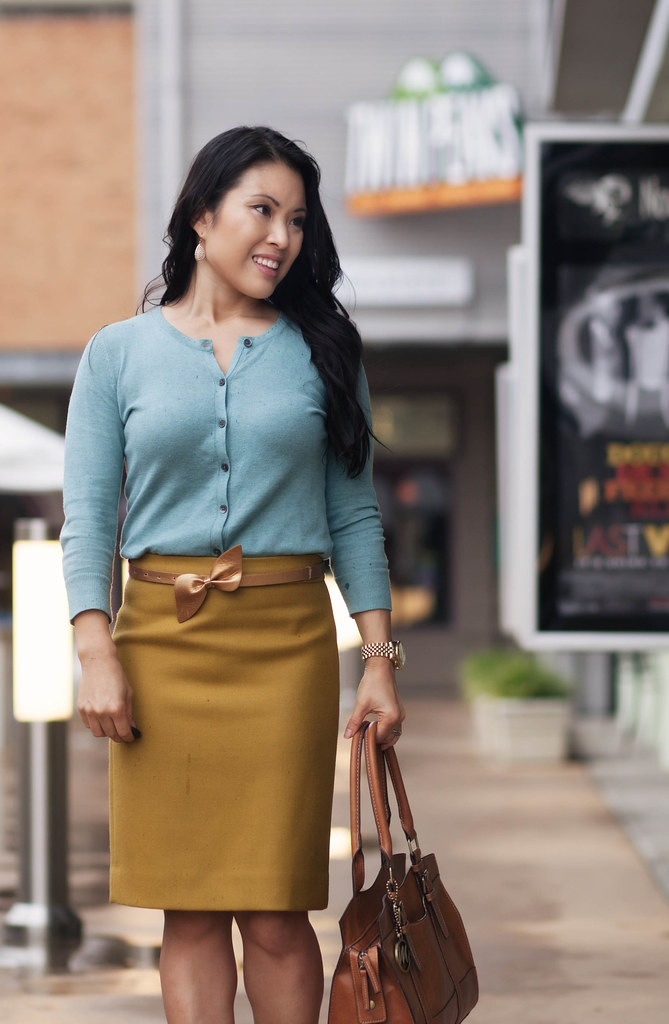 cute & little blog | mint cardigan, mustard pencil skirt, leopard pumps, emilie m jane satchel outfit #ootd, petite fashion