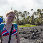 Emily on Punalu'u Black Sand Beach