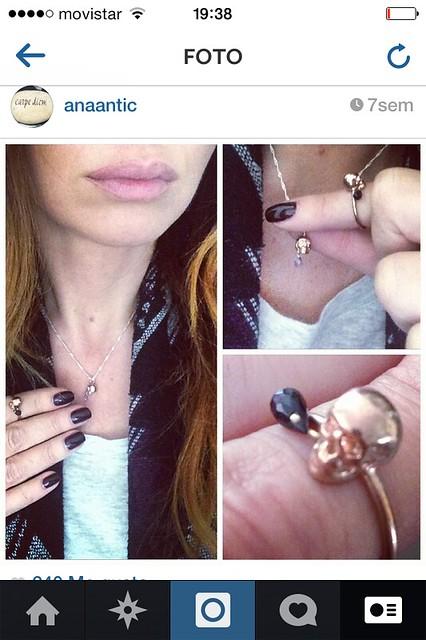 Instagram Ana Antic con joyas Gemmasu