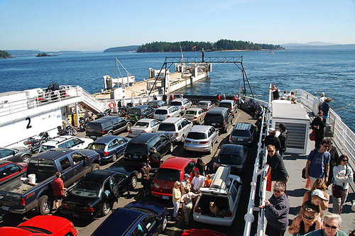 Ferry departing Swartz Bay in Victoria for Fulford Harbour on Saltspring Island, Gulf Islands, British Columbia,