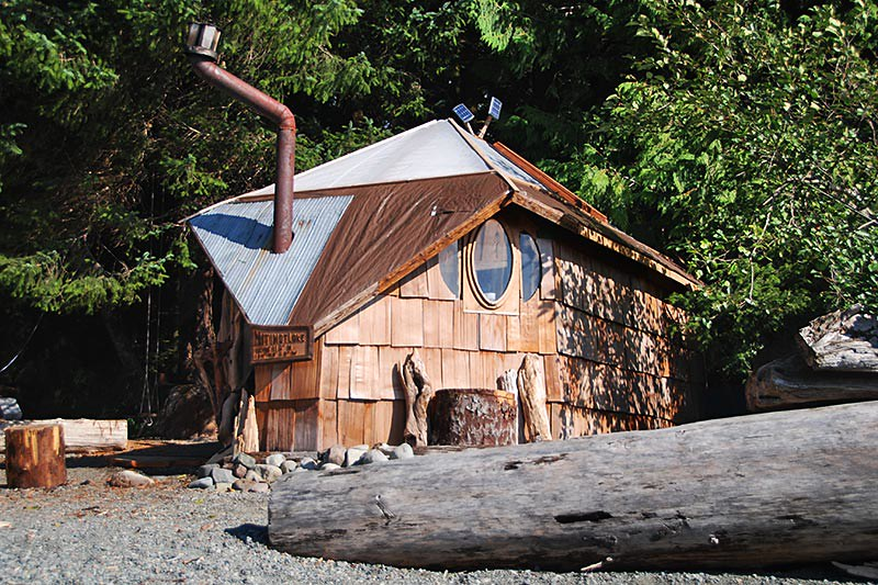 Wood-burning Sauna at Nitinat Lake, Vancouver Island, British Columbia, Canada