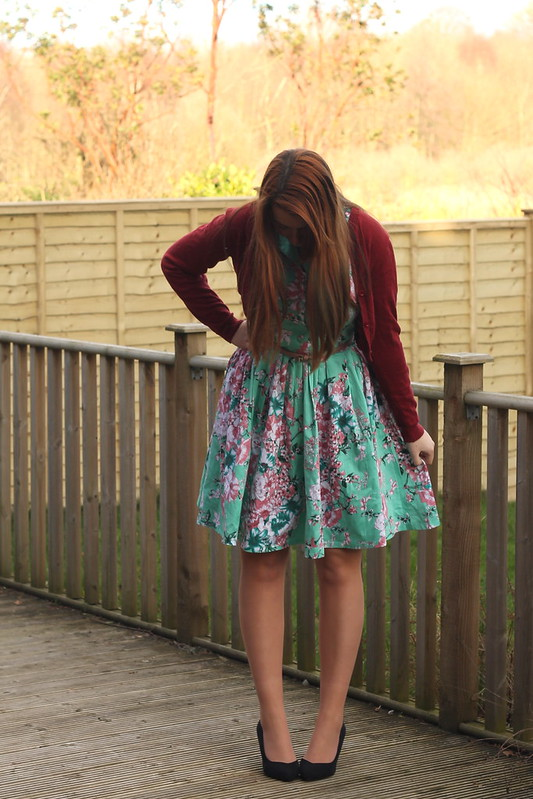 outfit with floral dress and heels