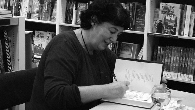 Joanne Harris signing The Gospel of Loki