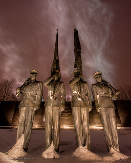 Snowfall over the Honor Guard at the Air Force Memorial