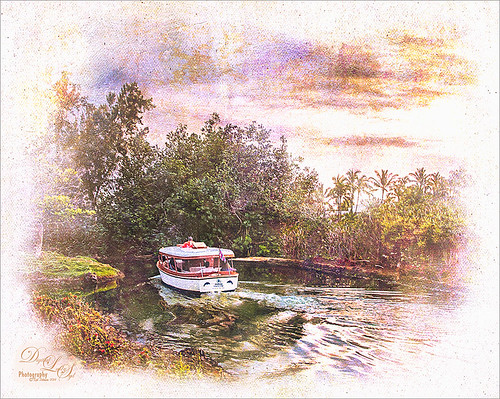 Painted image of wood boats at the Hilton Hawaiian Village on the Big Island