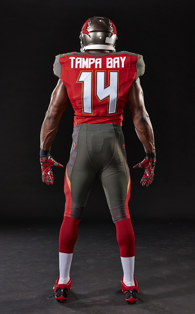 Men's Tampa Bay Buccaneers Mike Evans Majestic Threads Red Primary Logo Name & Number Tri-Blend Tank Top
