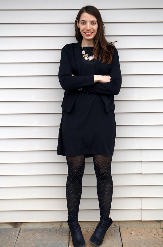 black dress and blazer with statement necklace