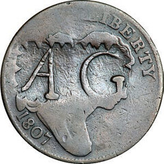 AG counterstamp on 1807 Large Cent