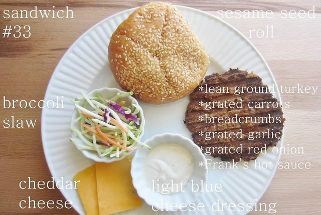 52 sandwiches no. 33: buffalo turkey burger with blue cheese broccoli slaw