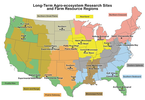 Map of USDA's Long-Term Agro-ecosystem Research (LTAR) sites and farm resource regions.
